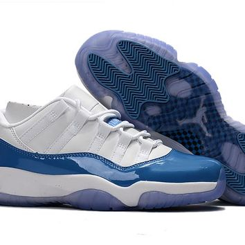 95c44c19b59 Air Jordan Retro 11 Low University Blue And White Basketball Sho