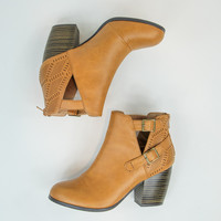 Cut-Out Faux Leather Booties in Camel