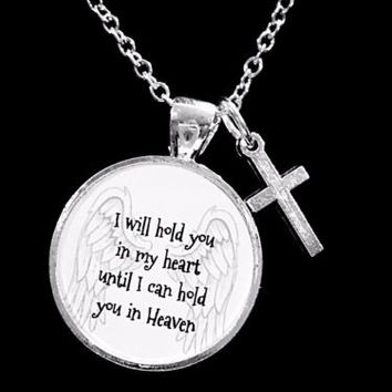 I Will Hold You In My Heart Guardian Angel Cross In Memory Sympathy Necklace