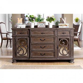 Furniture of america CM3150SV Arcadia collection rustic natural tone finish wood dining sideboard server buffet table