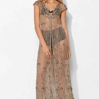 Kimchi Blue Tarnished Beaded Mesh Maxi Dress- Grey XS