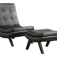 Ave Six Tustin Lounge Chair and Ottoman Set With Black Fuax leather fabric & Black Legs