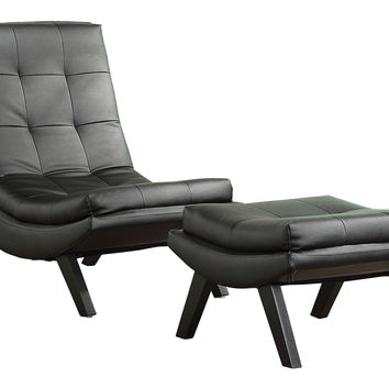 Office Star Tustin Lounge Chair and Ottoman Set With Black Fuax leather fabric & Black Legs [TSN51-B18]