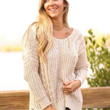 Natural Knit Oversized Sweater with Criss Cross Back