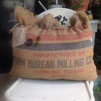 Vintage burlap Farm Bureau Milling pillow, rustic burlap pillows, farmhouse decor