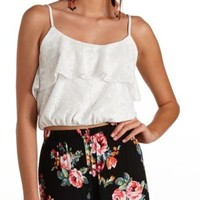 Bloused Flounce Lace Crop Top by Charlotte Russe