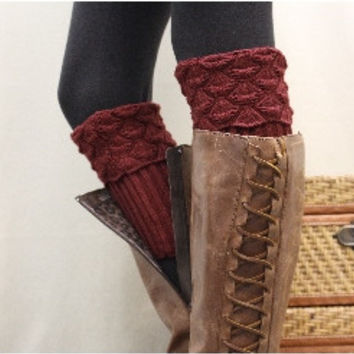 Boot cuff, Boot cuffs, boot socks cuff, boot topper, knit, knitted, usc, garnet, gamecocks, collegiate, boot liners, SPICE SCALLOP paprika, knit boot toppers | BC2