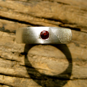 Handmade Finger Print Band in Sterling Silver with Natural Red Brown Garnet & Matte Finish Size 13/6mm