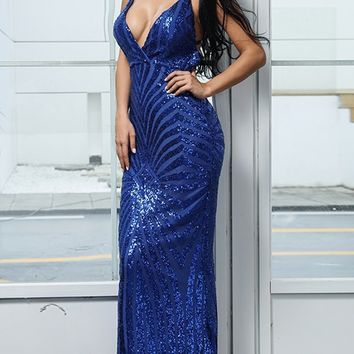 You'll Know Me Sequin Geometric Pattern Sleeveless Spaghetti Strap V Neck Bodycon Mermaid Maxi Dress