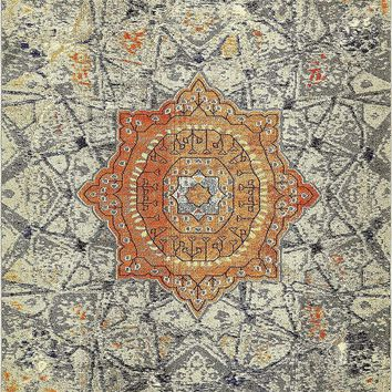 9322 Gray Medallion Distressed Oriental Area Rugs