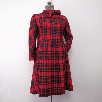 Vintage Plaid Swing Coat Waterfall back Hanna Troy Weekender Harry Allenfall Red plaid coat with green and navy size XS S