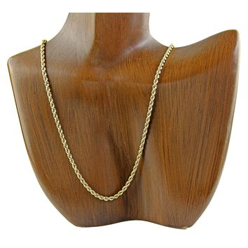 Heavy 2.5 mm Wide Rope Chain in SOLID 14k REAL Yellow Gold
