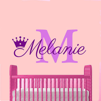 Wall Decals Personalized Name Decal Vinyl Sticker Crown Girl Nursery Decor Home Bedroom Interior Design Art Mural MN432
