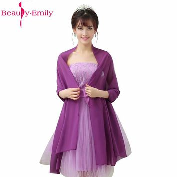 2017 Chiffon Wedding Jacket Wedding Accessories Long Bolero For Evening Gown Dress Wedding Shawl