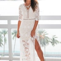 White Crochet Maxi Dress with Side Slits