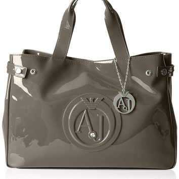 Armani Jeans Eco Patent Leather East West Logo Tote