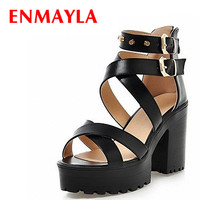 ENMAYLA Big Size 34-43 Women Gladiator Sandals Square High Heels Rivets Summer Shoes Open Toe Thick Platform Sandals Women Shoes