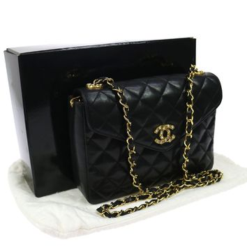 Authentic CHANEL Quilted Chain Shoulder Bag Black Leather Vintage GHW TG00453