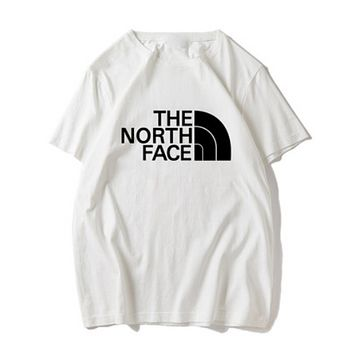 The North Face New Fashion Summer Bust Letter Print Sports Leisure Women Men Top T-Shirt Red