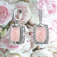 Bling Jewelry Vintage Style Simulated Rose Quartz Dangle Earring Rhodium Plated | Bling Jewelry