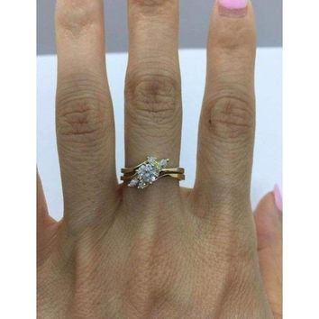 1/2 Carat Diamond Engagement Ring with Matching Wedding Band 14K Yellow Gold