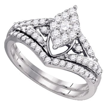 10kt White Gold Womens Round Diamond Oval Cluster Bridal Wedding Engagement Ring Band Set 3/4 Cttw