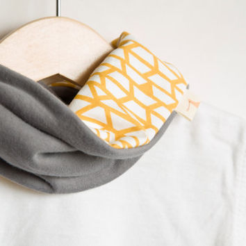 Baby scarf | Teething bib | Gold Yellow Grey Mustard | Baby shower gift | Baby infinity scarf | Heavy drooler bib. 100% cotton.