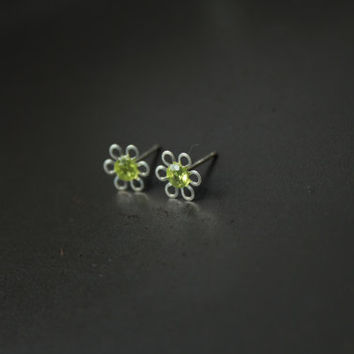 Small stud earrings, flower studs, sterling silver earrings, green peridot earrings