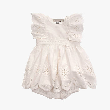 Stella McCartney Kids Foxglove Baby Girl Eyelet Dress - WHITE - 363368 - FINAL SALE