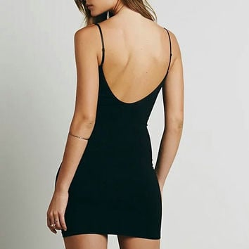 Spaghetti Strap Backless Camisole Slim One Piece Dress [9699006607]