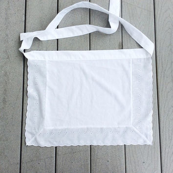 Eyelet White Aprons for her Square Half Apron American Maid apron, House warming gift for Her, Novelty Costumes Aprons, Gifts under 20