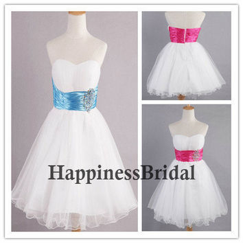 Custom A-line Sweetheart Sleeveless Mini Organza Short Bridesmaid Dress Prom Dress Formal Evening Dress Party Dress With Sash Beading