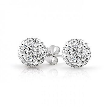 Shamballa Earring Sterling Silver 925 Plated