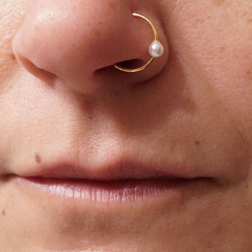 Pearl Gold Nose Hoop Nose Ring 18G 20G Gold Nose Ring