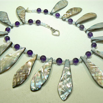 Amethyst blue lace agate and shell choker by 3cedarsjewelry