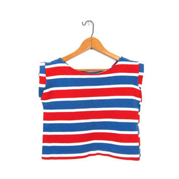The BERNIE BLOUSE 60s Cropped Tank Top Red White Blue Striped Boxy Top Sleeveless Cropped Shirt Retro Small Extra Small Louannes Vintage