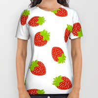 STRAWBERRY FRUIT FOOD PATTERN All Over Print Shirt by deificus Art