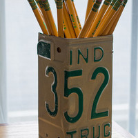 Indiana License Plate Pencil Holder - Pencil Cup - Pen Cup - Unique Pencil Cup - Desk Accessories - Office Decor - New Job Gift - Pen Holder