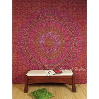 Burgundy Queen Elephant Tapestry Bedspread Red