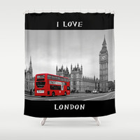 Black and White London with Red Bus Shower Curtain by Alice Gosling