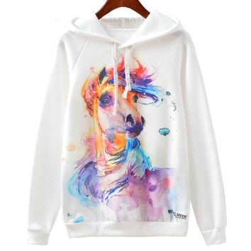 Long Sleeve Sweater - Horse Watercolor Paint Women's Hoodie