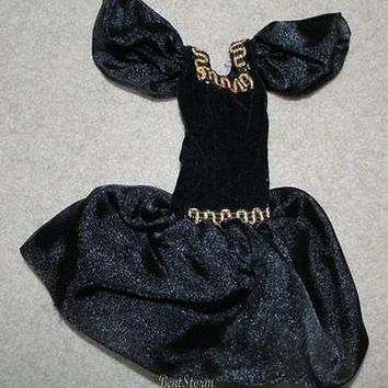 Licensed cool Custom Made BARBIE Doll Black Dress Gold trim evening ball gown puffed sleeves