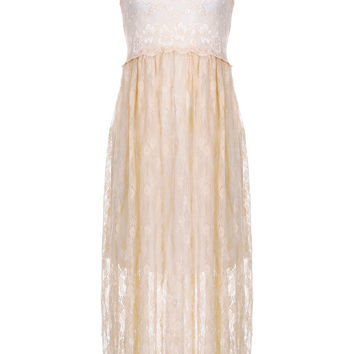 Sleeveless Lace Maxi Dress in Cream