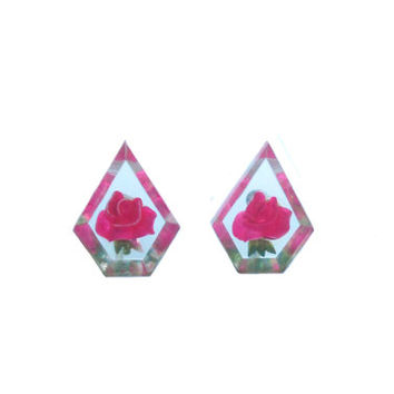 Vintage Earrings Transparent Pentagon Shaped Earrings Pressed Flowers Bright Pink Roses - Mid Century Screwback Earrings