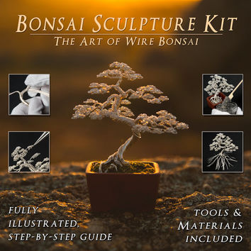 Wire bonsai sculpture kit, complete tools, materials and fully illustrated colour tutorial book