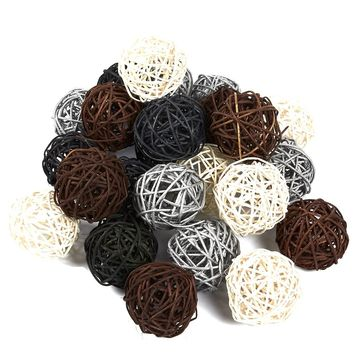 24-Pack Multi Color Wicker Rattan Balls - Decorative Spheres for Christmas Tree, House Ornaments, 4 Colors To Choose From, 1.9 x 1.8 x 1.8 Inches
