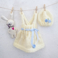 White Baby girl dress and hat set hand knitted