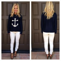 Nautical Anchor Sweater - NAVY
