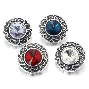 10pcs/Lot Mix 18mm Snap Button Jewelry Charm Rhinestone Ginger Button For Snap Fit DIY Snap Bracelets&Bangles Accessory 021605