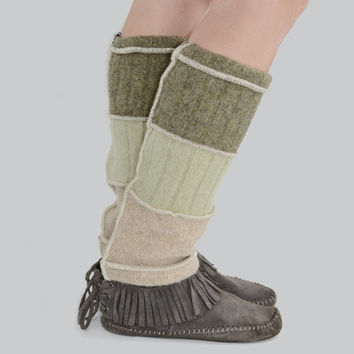 Grunge Leg Warmers in Sage Green and Beige - Upcycled Wool Sweaters
